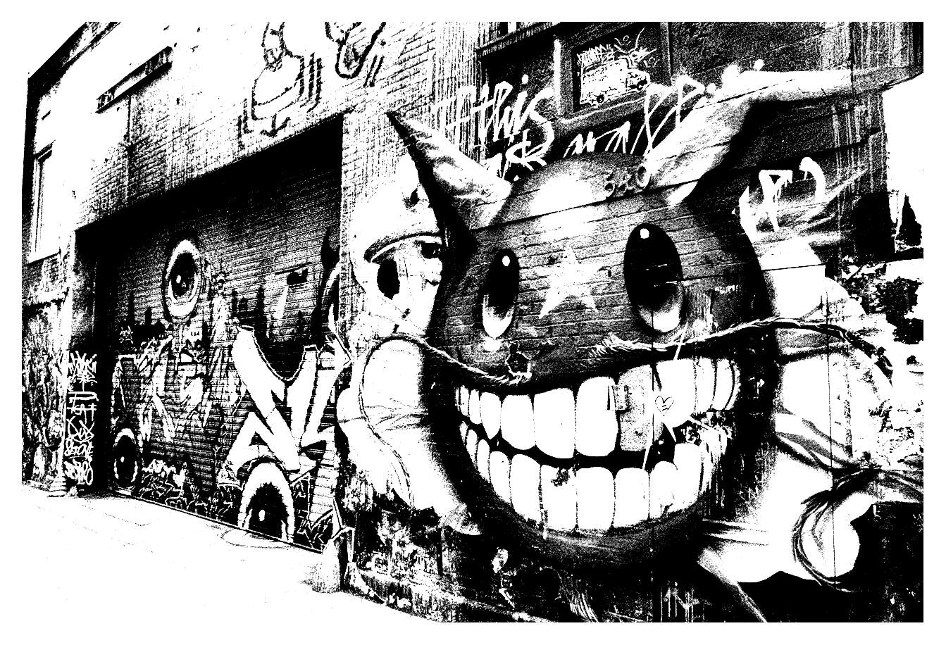 Graffiti alley Street Art Adult Coloring Pages