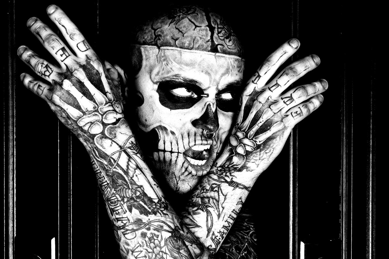 Rick Genest : Zombie : color all his tattoos