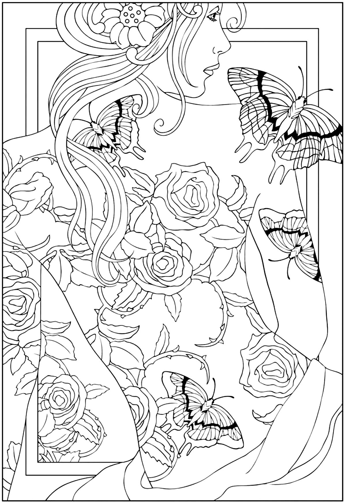 free printable coloring pages for adults zen : Coloring Adult Back Tattooed Woman Free To Print