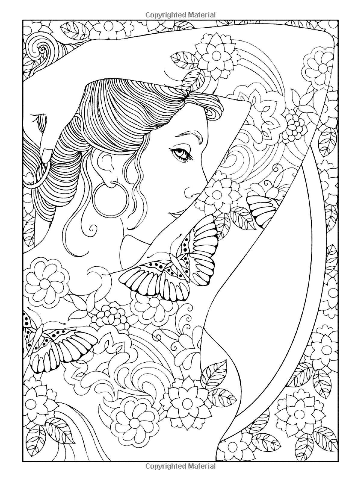 shoulder tattooed woman - Coloring Page Woman