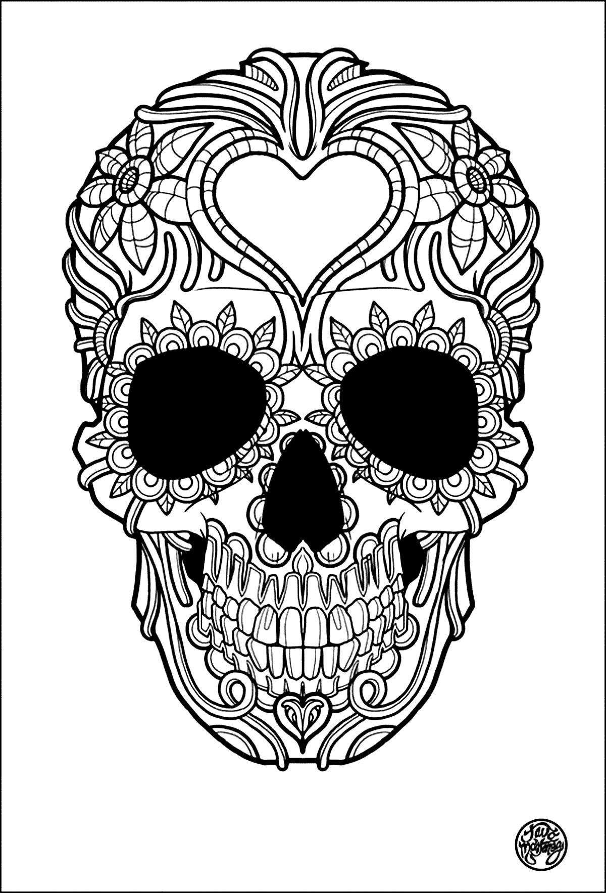 Skulls Coloring pages for adults JustColor