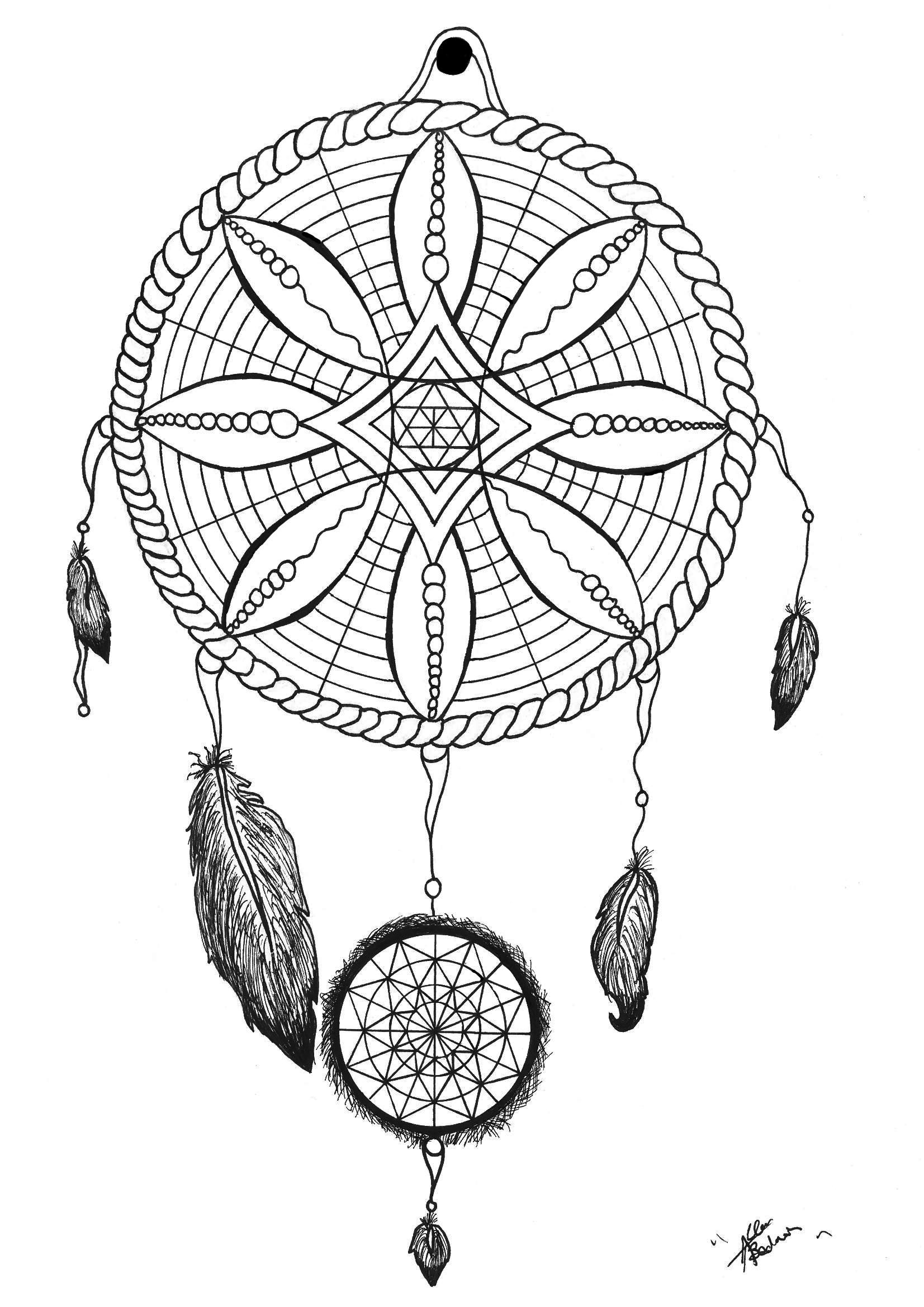 Traditional Dreamcatcher tattoo - Tattoos Adult Coloring Pages