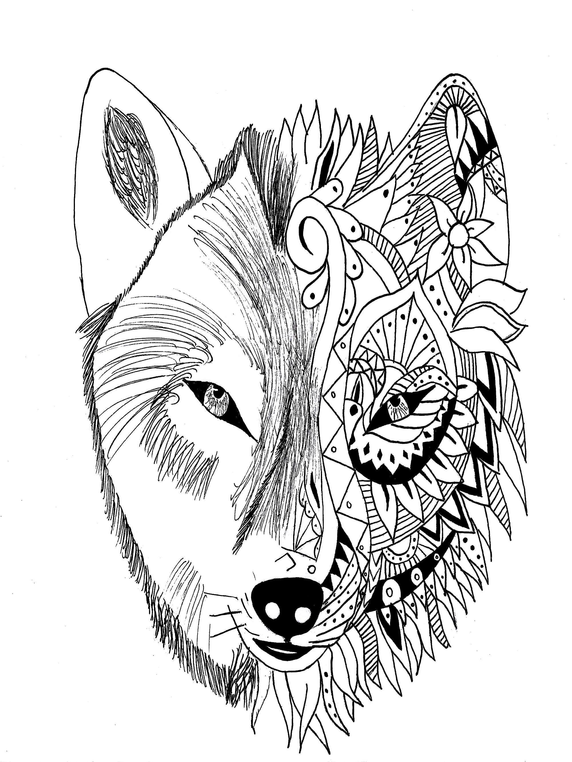 Wolf tattoo in two parts, realistic and zentangle style.