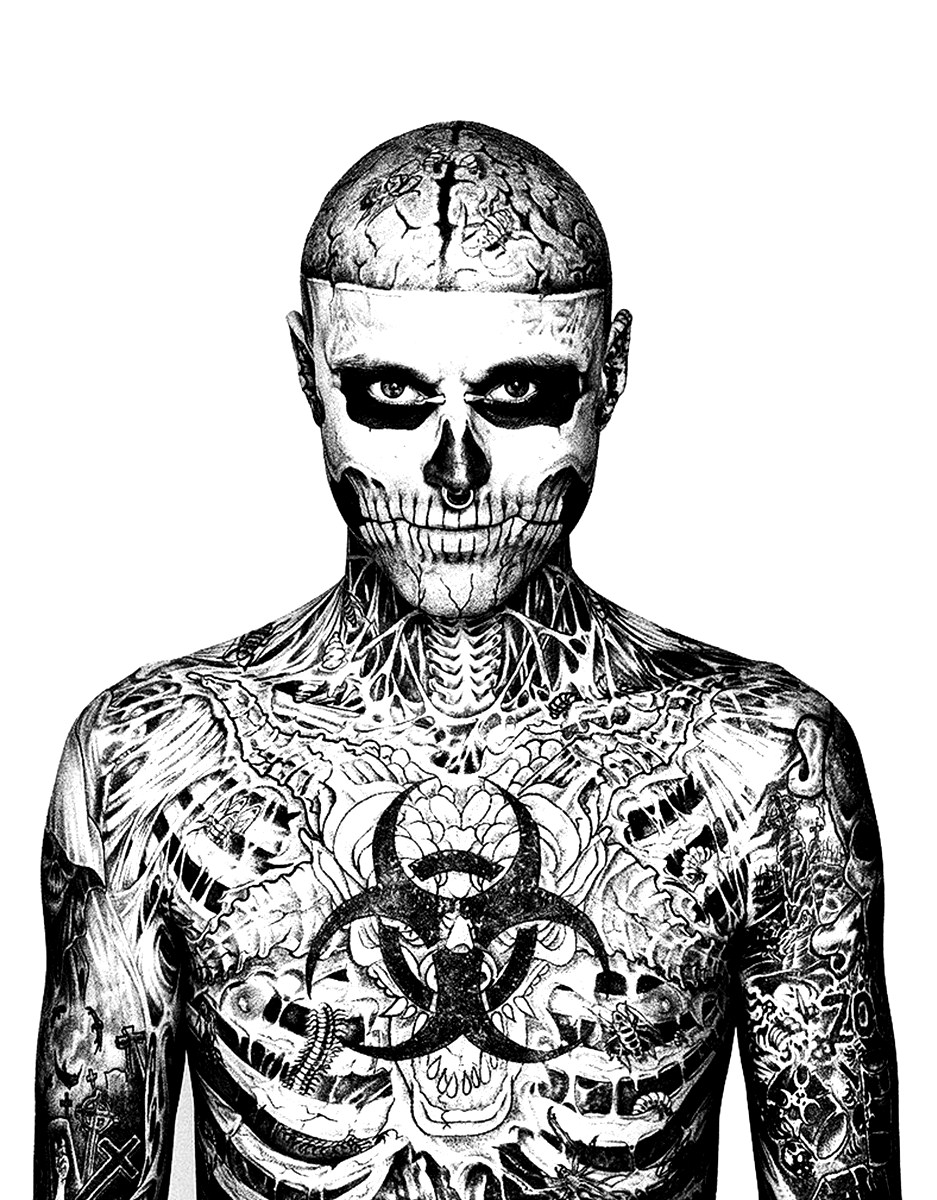 Rick Genest : face and chest : color all his tattoos
