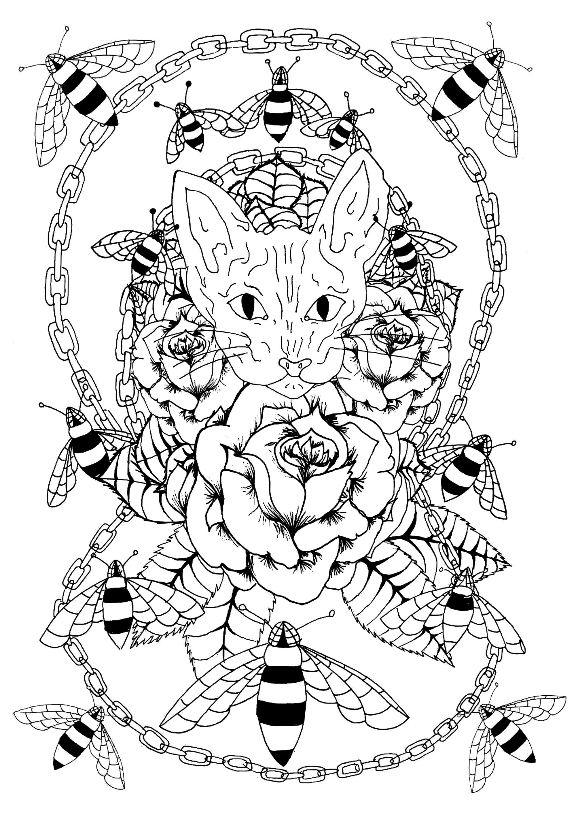 Sphynx cat head surrounded by roses, bees and a metal chain