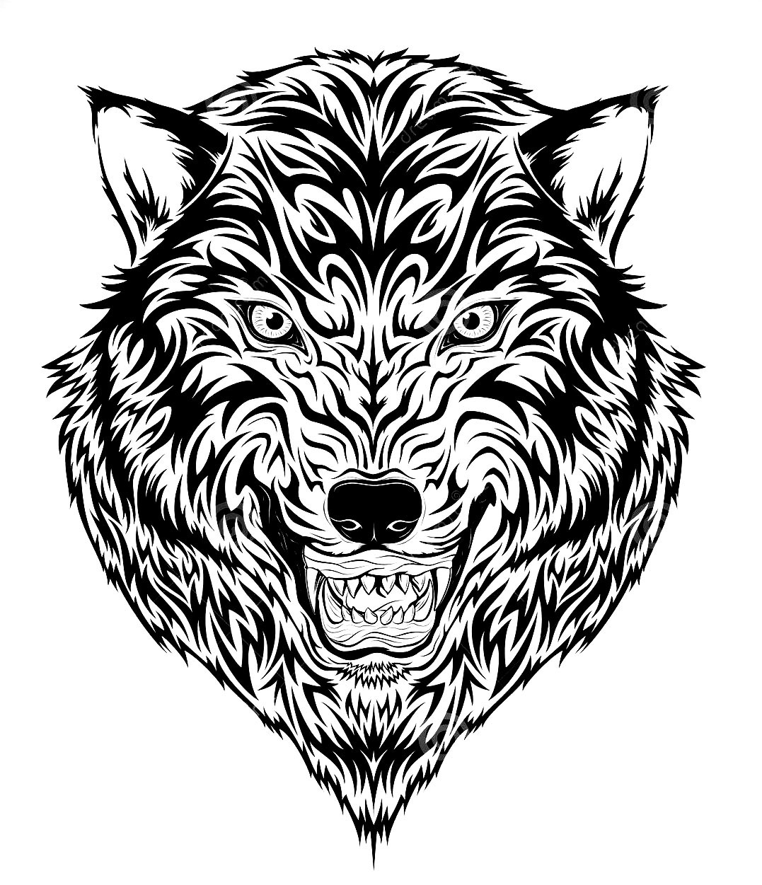 Tiger head composed of thick lines. Perfect for a tattoo
