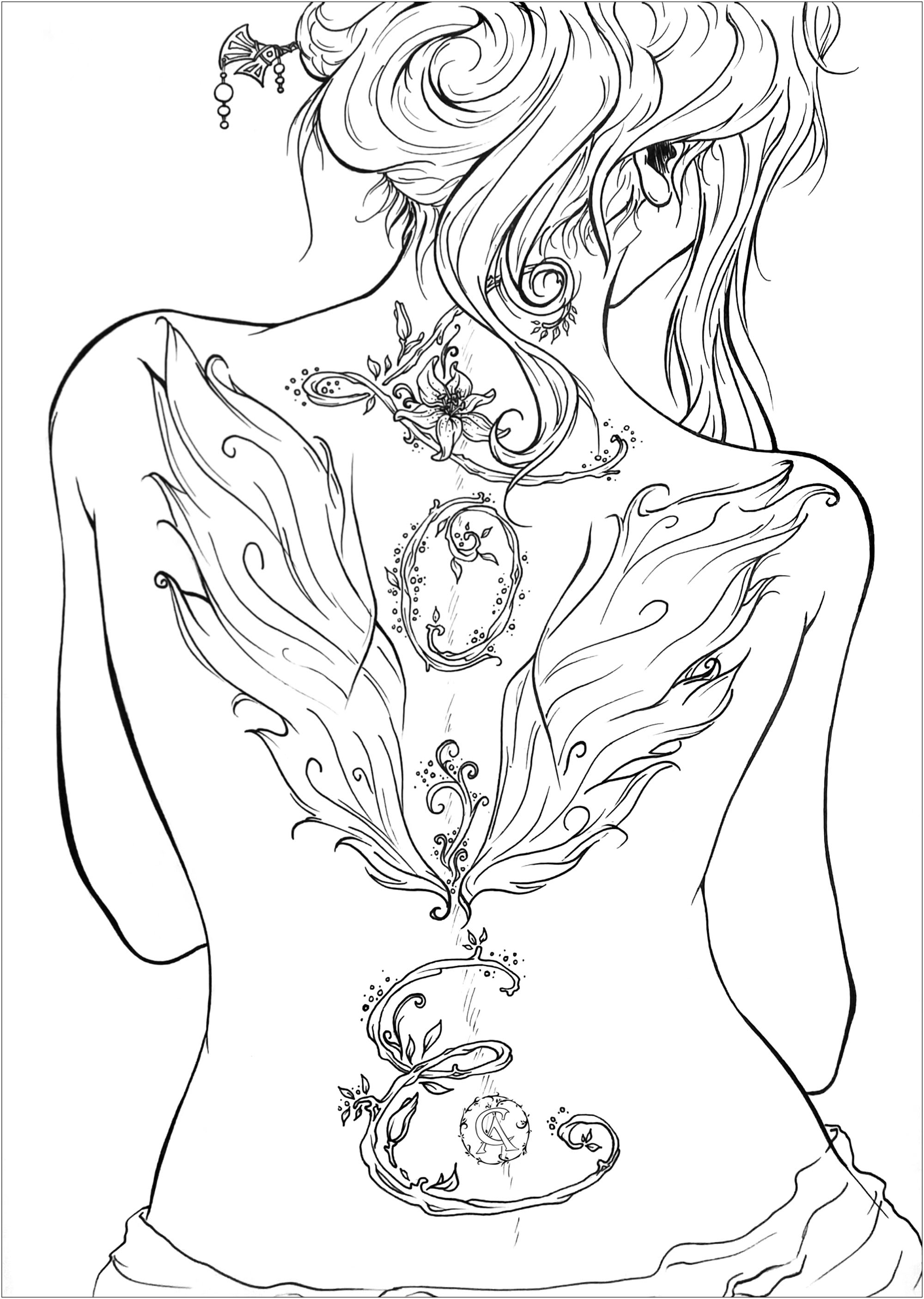 Love gives wings! Back woman with stylized tattoo