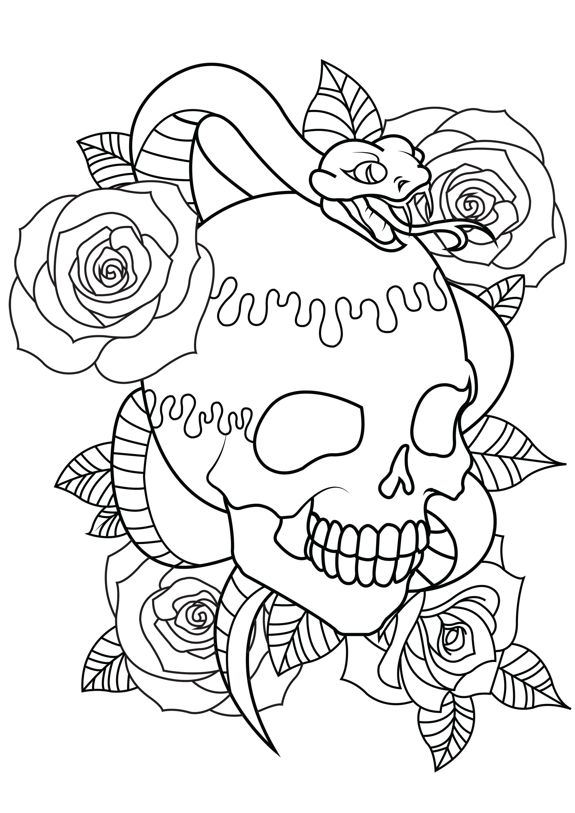 Color with tattoo containing a skull, a snake and beautiful roses with leaves