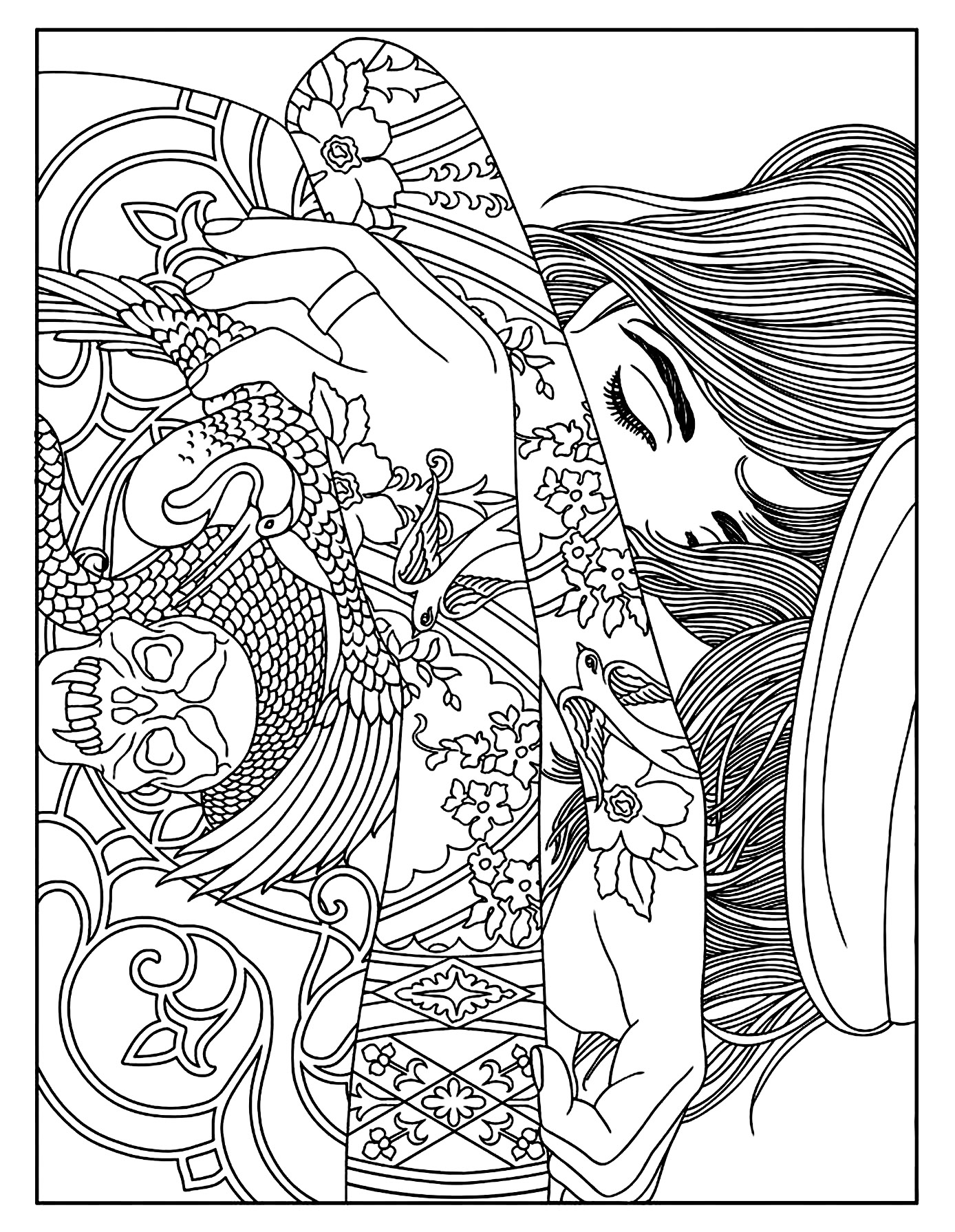 coloring page woman tattoos sleeping beauty - Coloring Page Woman