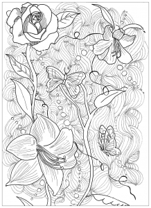 Coloring Page Tattoo Flowers Butterfly