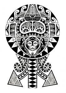 Coloring polynesian tattoo