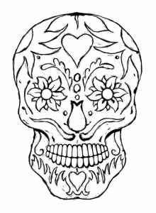 coloring adulte tatoo skull eyes flowers