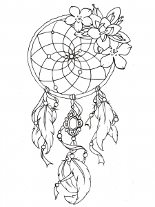 Coloring dreamcatcher tattoo designs