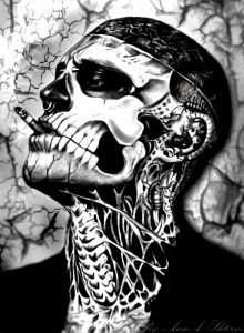 Rick Genest smoking