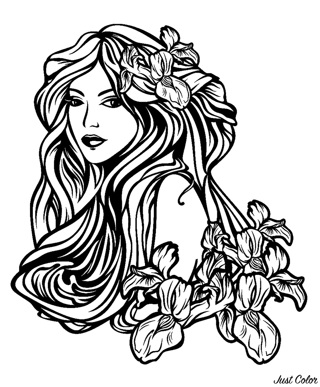 Beautiful woman with long hair among iris flowers - Art nouveau style, perfect for a tattoo