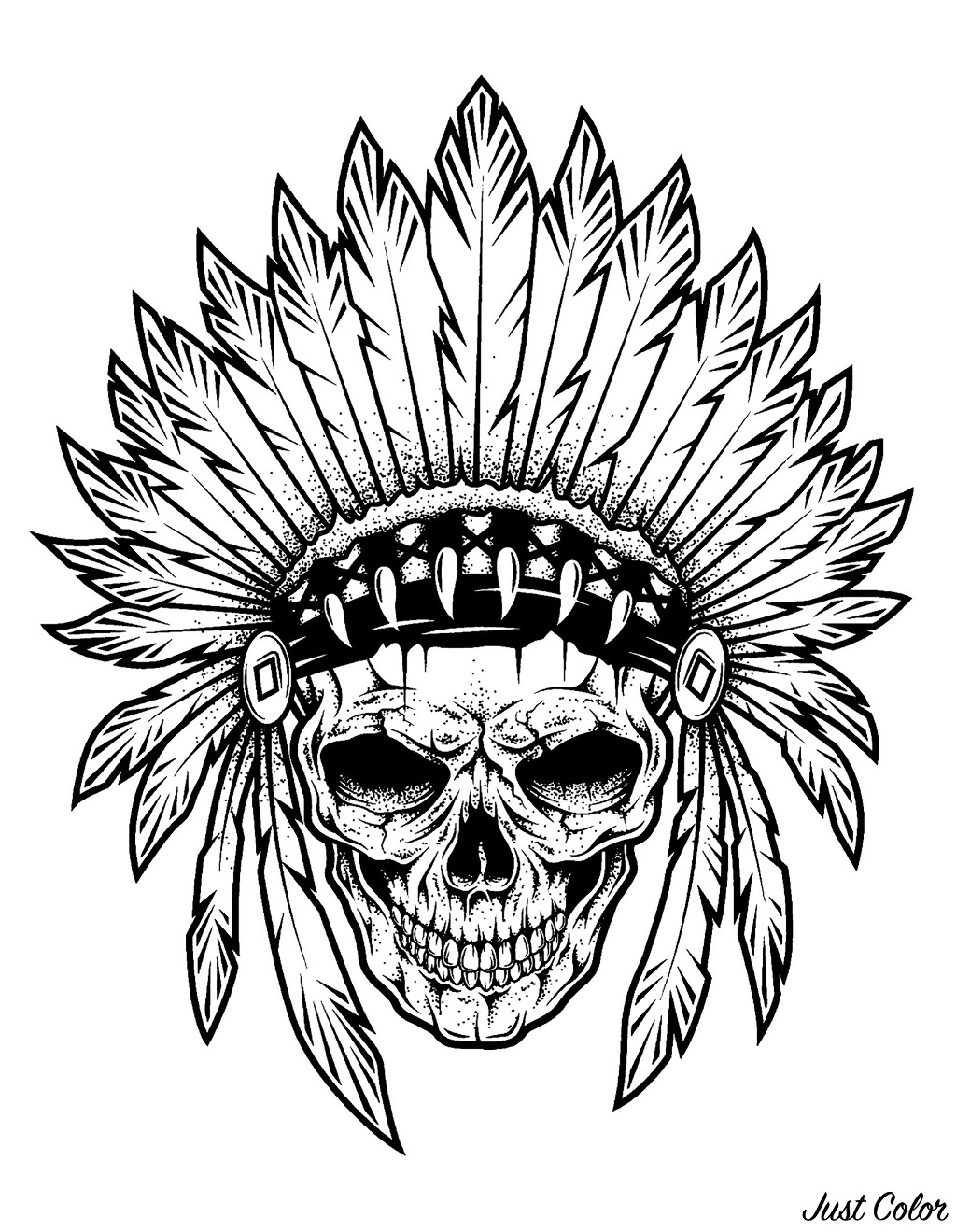 Tattoo of the skull of an Indian Chief