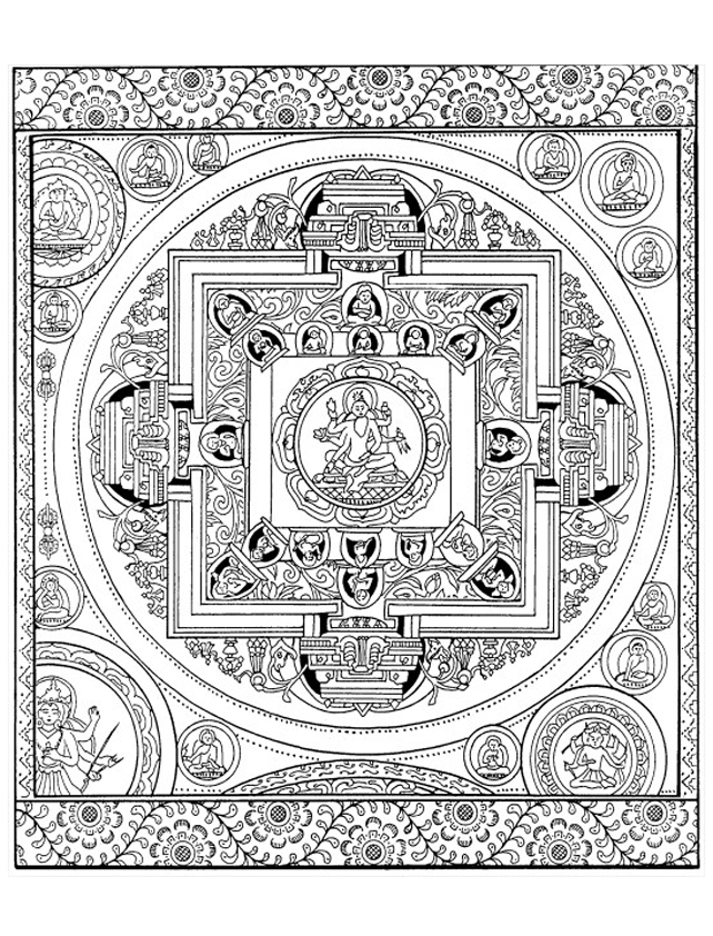 Coloring page created from an authentic 19th century Tibetan Mandala