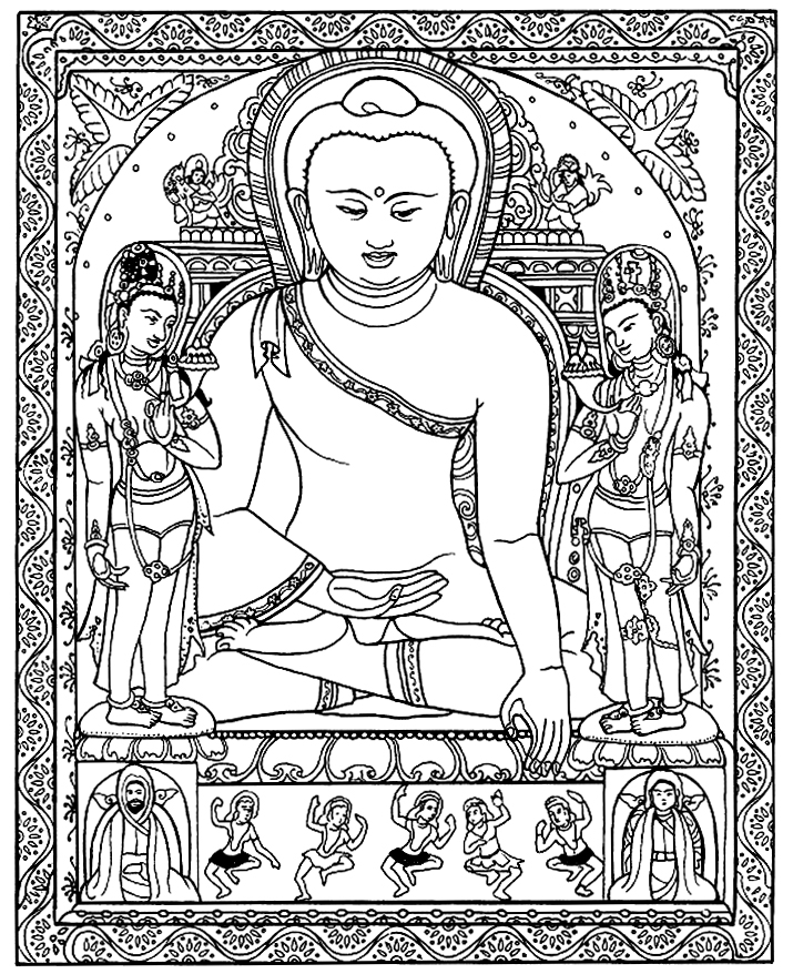 A majestic Tibetan Buddha to color !