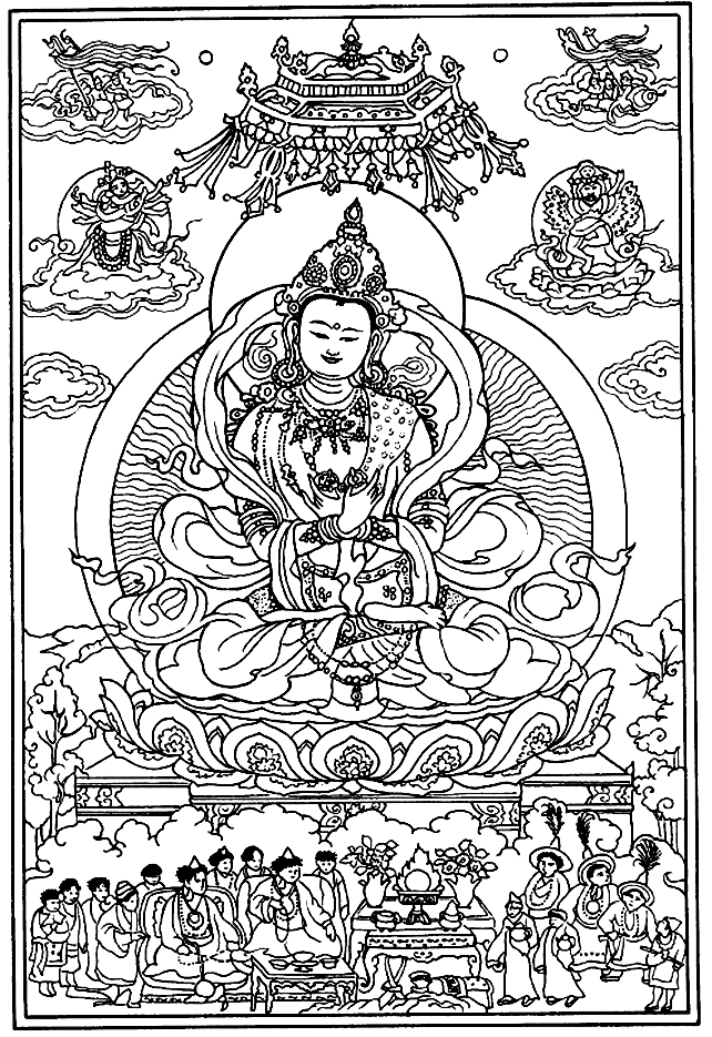 Drawing created from the representation of a God in an ancient work of Tibet