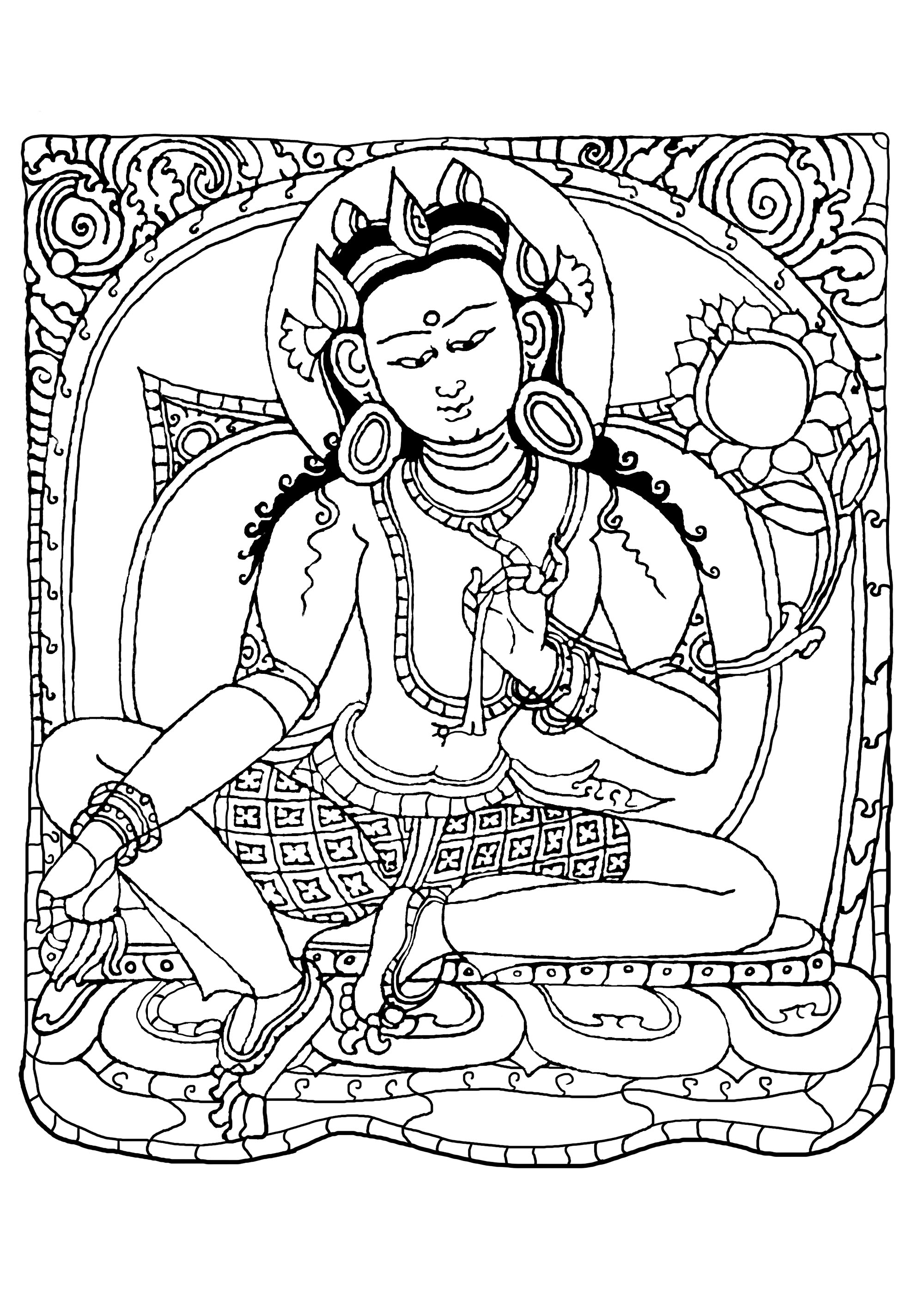 Coloring page inspired by a drawing (copper with gilding and paint) representing Buddha Shakyamuni. It was made by Nepalese craftsmen, between 1500 and 1600. It was possibly crafted and commissioned in Tibet.