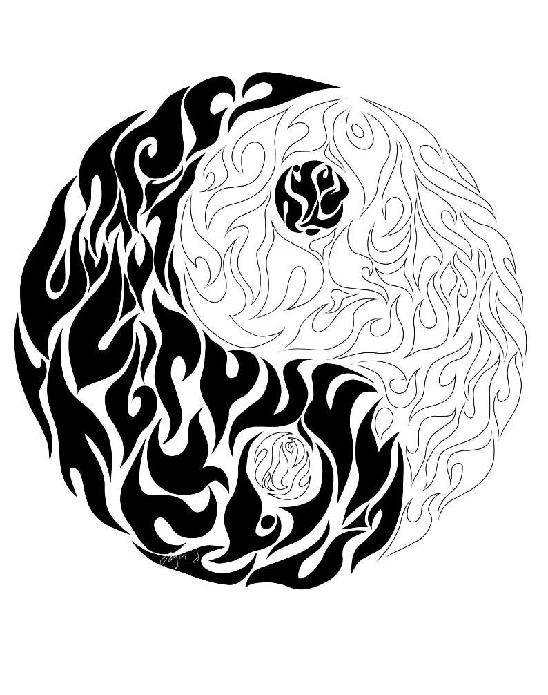 A Yin Yang Coloring Sheet Drew As It Is On Fire