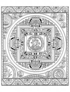 coloring-adult-mandala-tibetain free to print