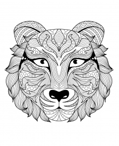 Coloring page adult tiger head