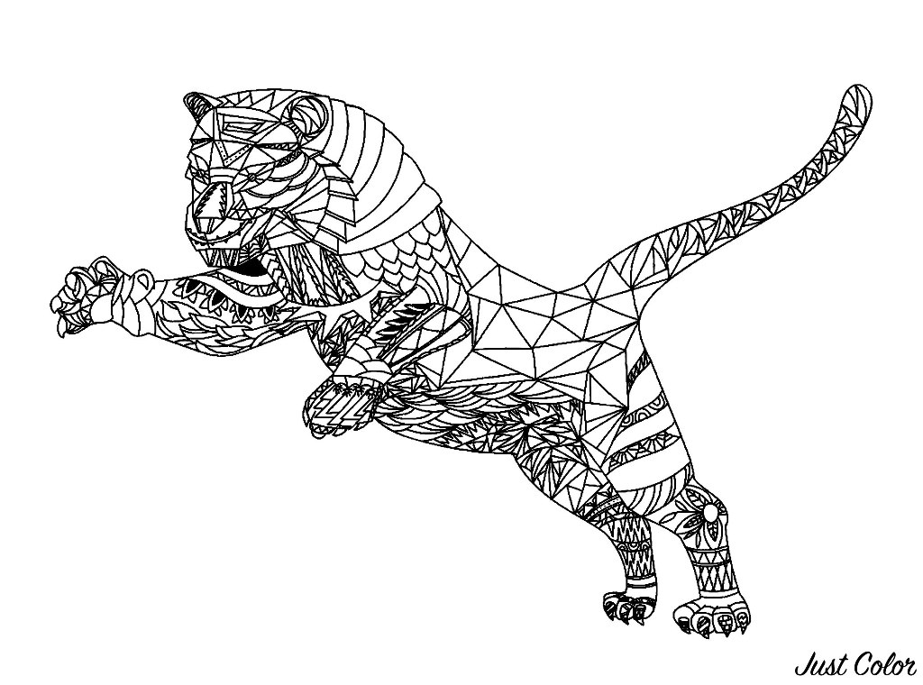 Tiger With Geometric Patterns Tigers Adult Coloring Pages