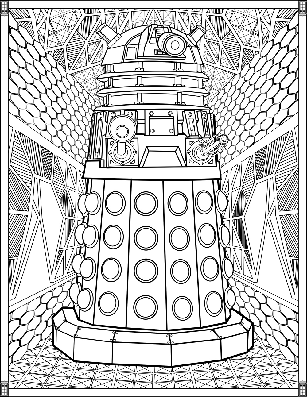 Doctor who pages dalek tv shows adult coloring pages for Tv coloring page