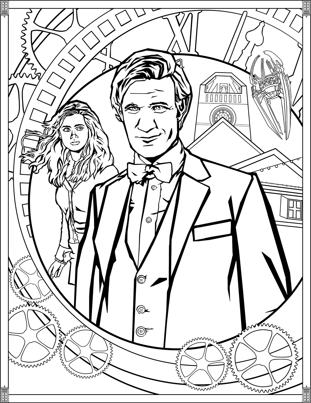 Doctor Who Pages Eleventh Doctor TV shows Adult Coloring Pages