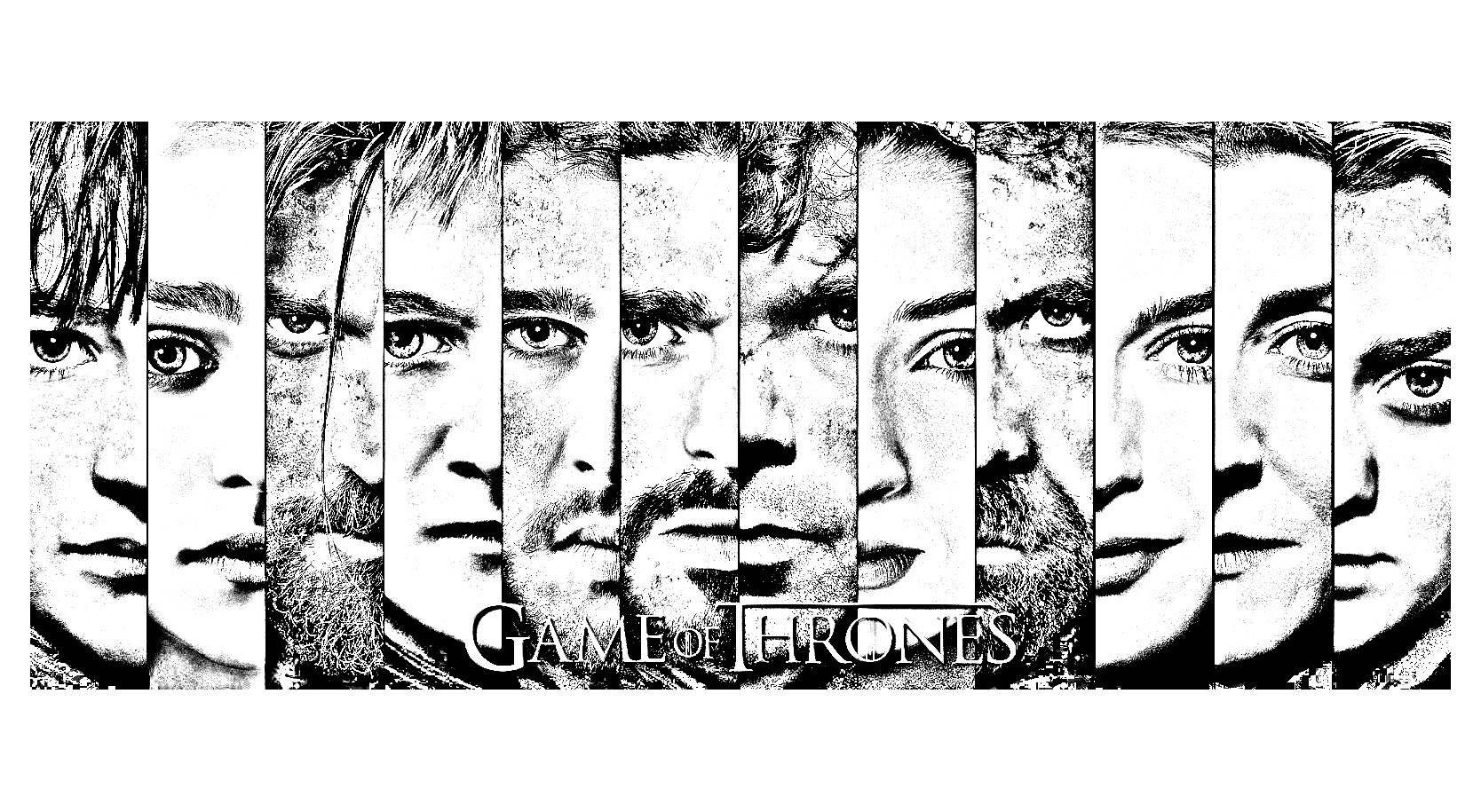 Coloring adult game of thrones visages