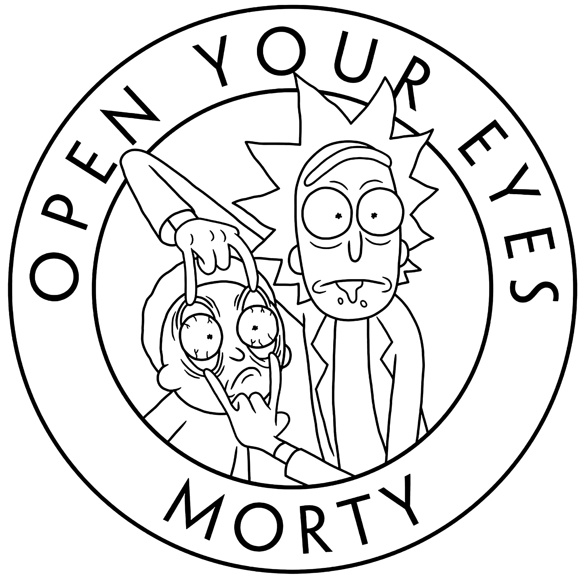Simple coloring page with Rick and Morty and the text 'Open your Eyes'