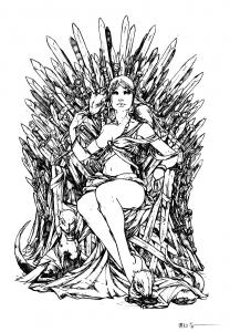 coloring-adult-game-of-throne-daenerys_targarya-dragons free to print
