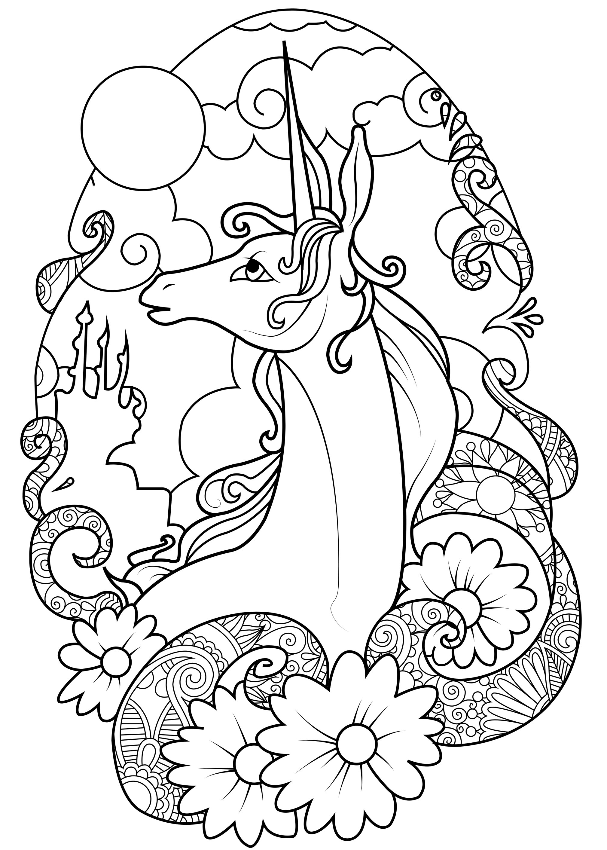 Coloring page fairy unicorn graceful unicorn in the moonlight surrounded by flowers