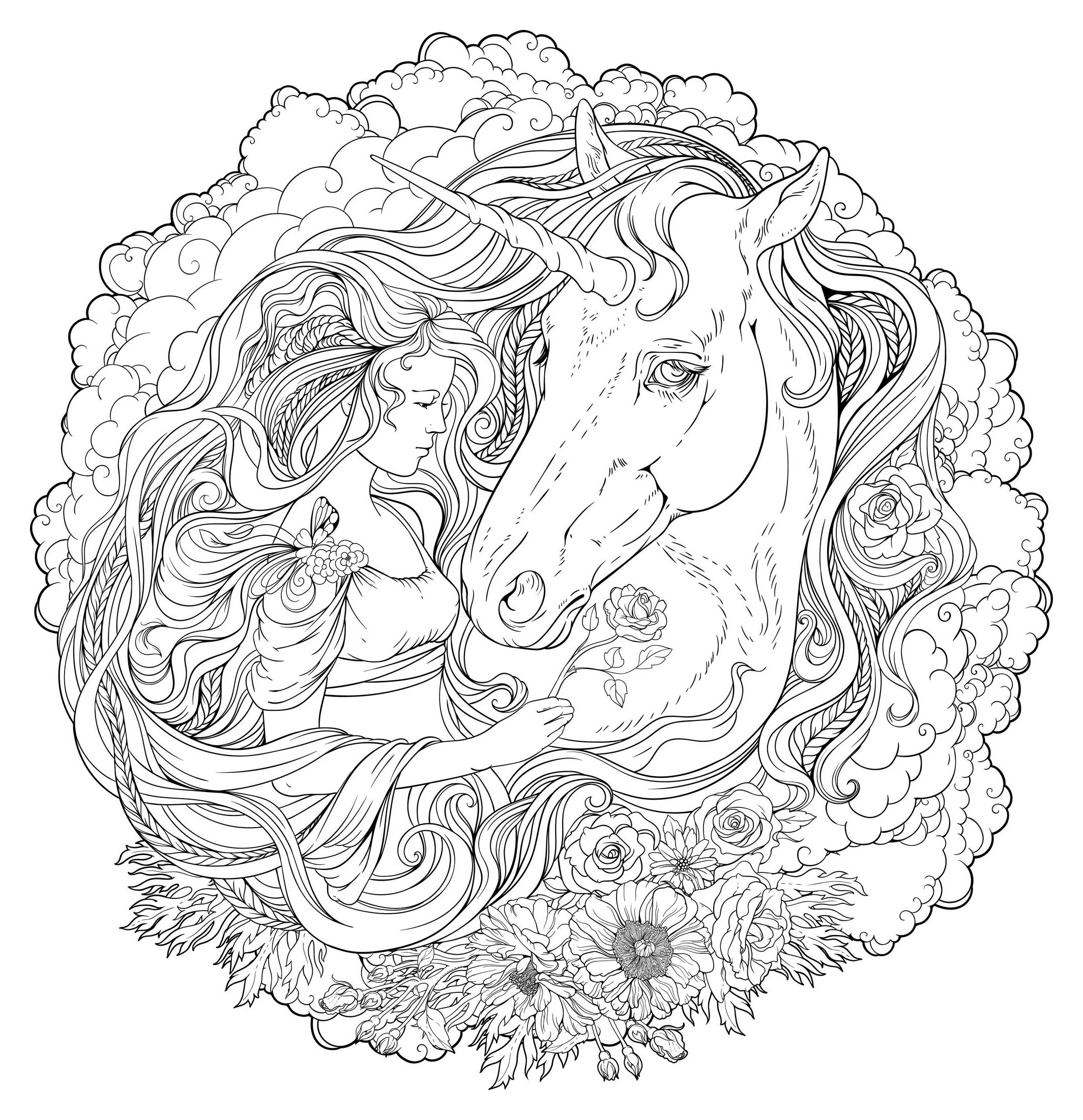 Unicorn and girl in clouds - Unicorns Adult Coloring Pages