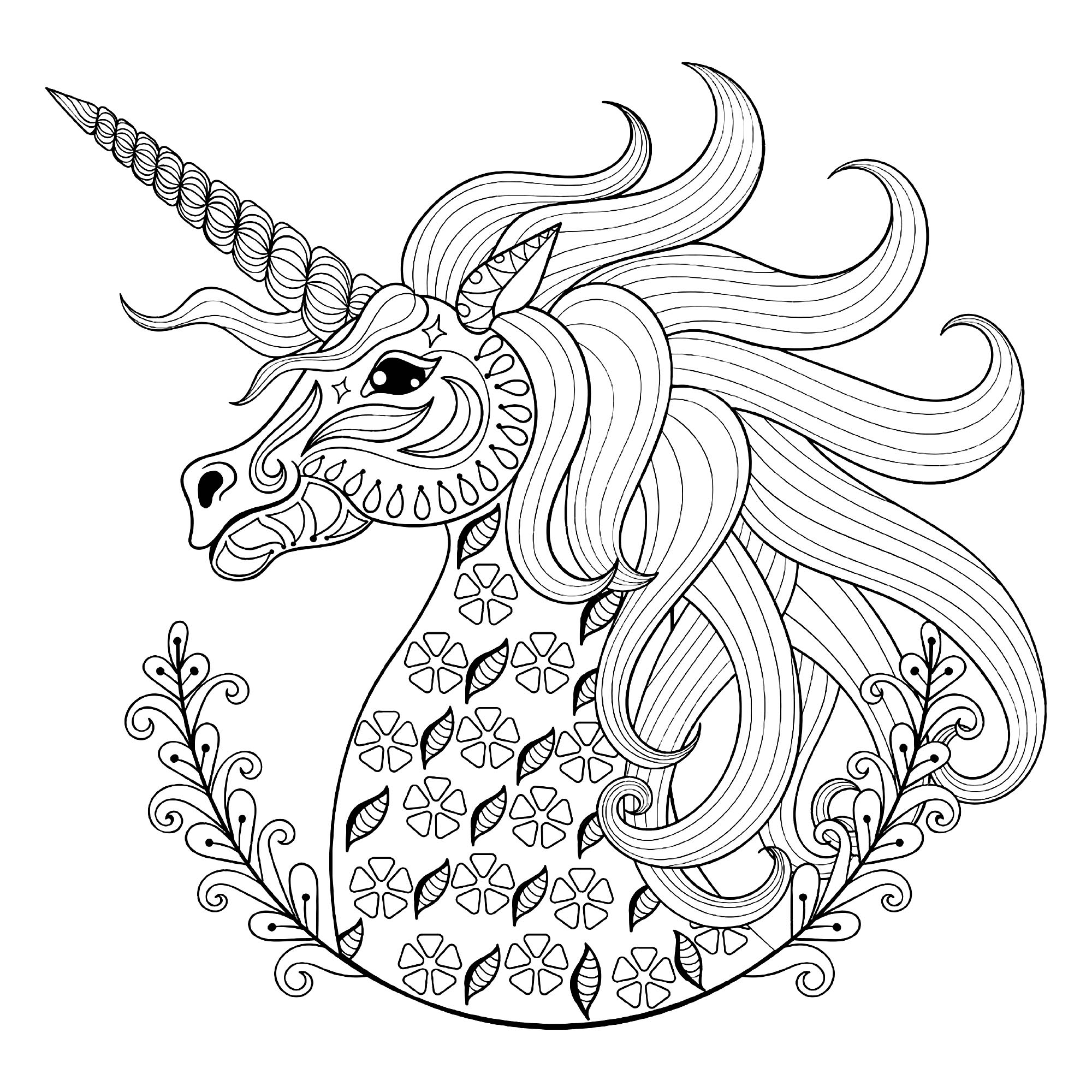 Unicorn head with patterns Unicorns Adult Coloring Pages