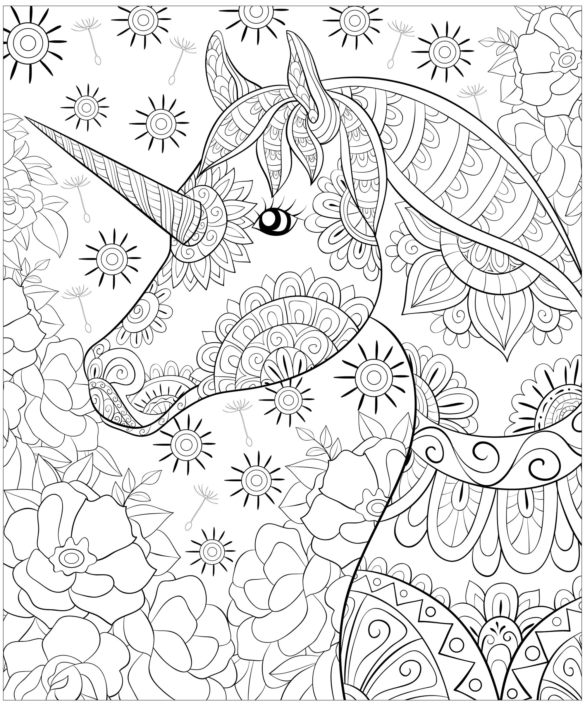 Cute unicorn and flowes - Unicorns Adult Coloring Pages
