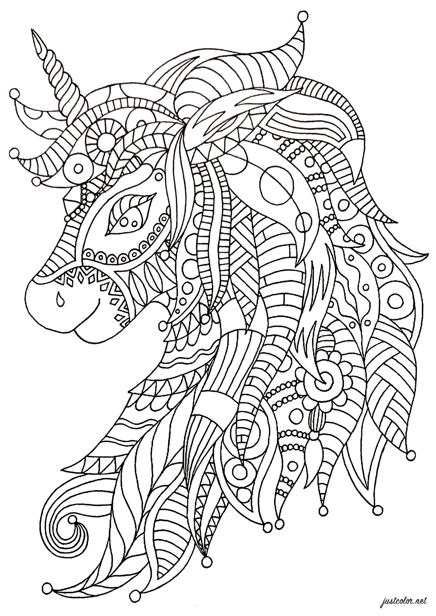 A majestic unicorn with Zentangle patterns