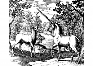 Coloring woodcut unicorn and stag