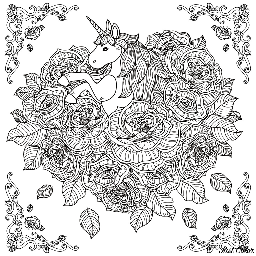Coloring page unicorn mandala black and white pattern for coloring book for adults with adorable unicorn and roses background