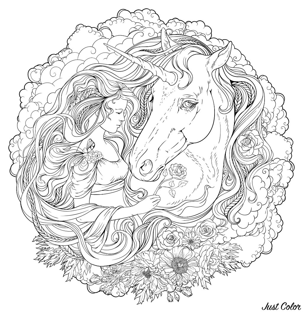 Magnificent circular coloring page of a girl and an unicorn in the clouds