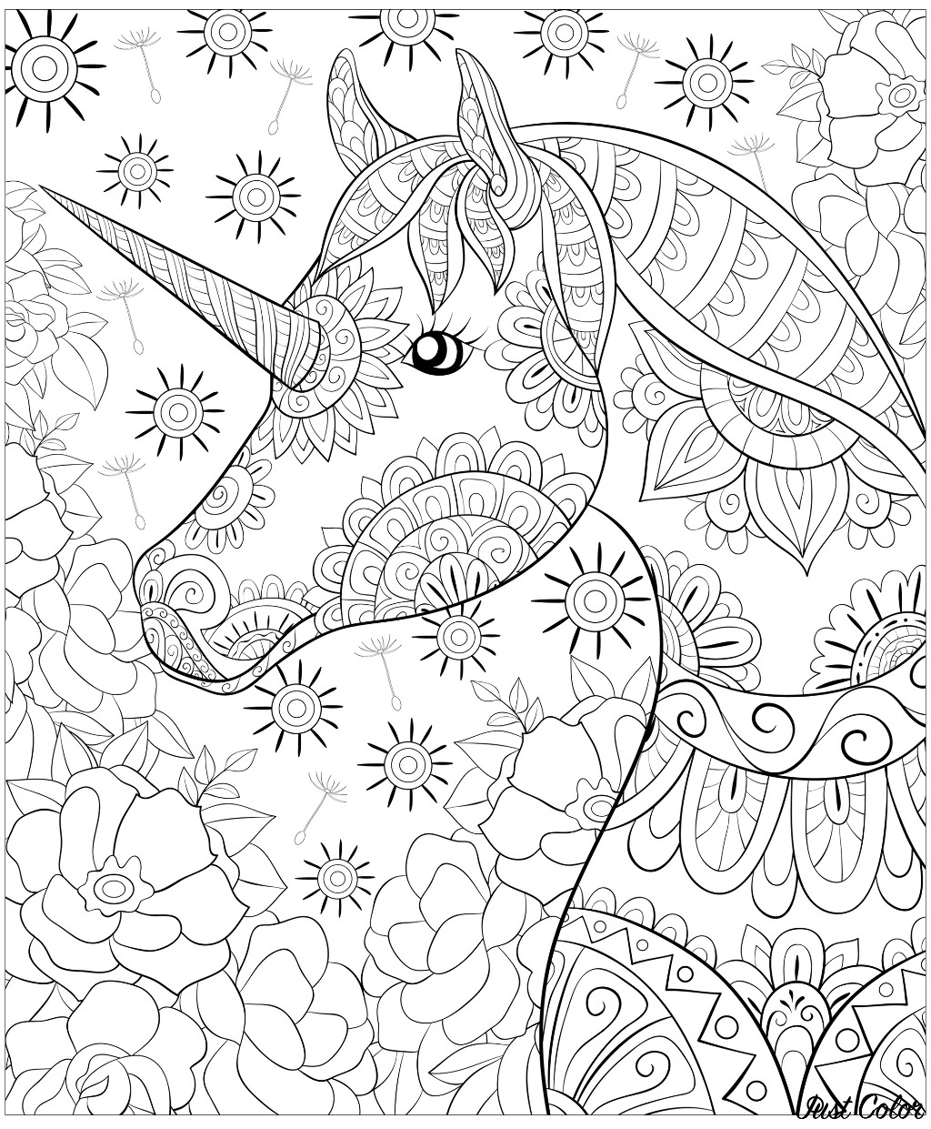 A cute unicorn on the abstract floral background image for relaxing activity
