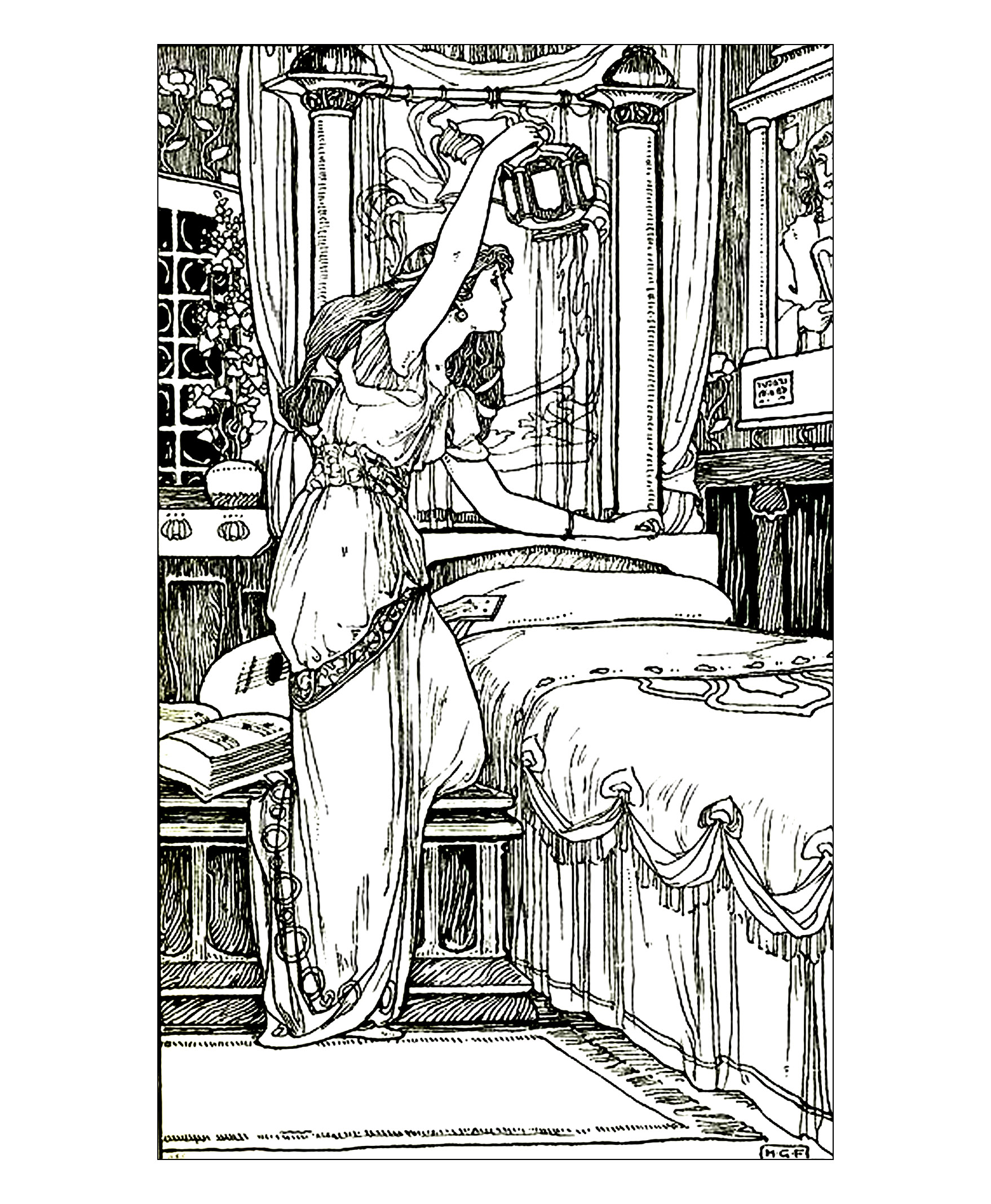 Drawing vintage woman lamp - Image with : Bedroom, Night, Woman