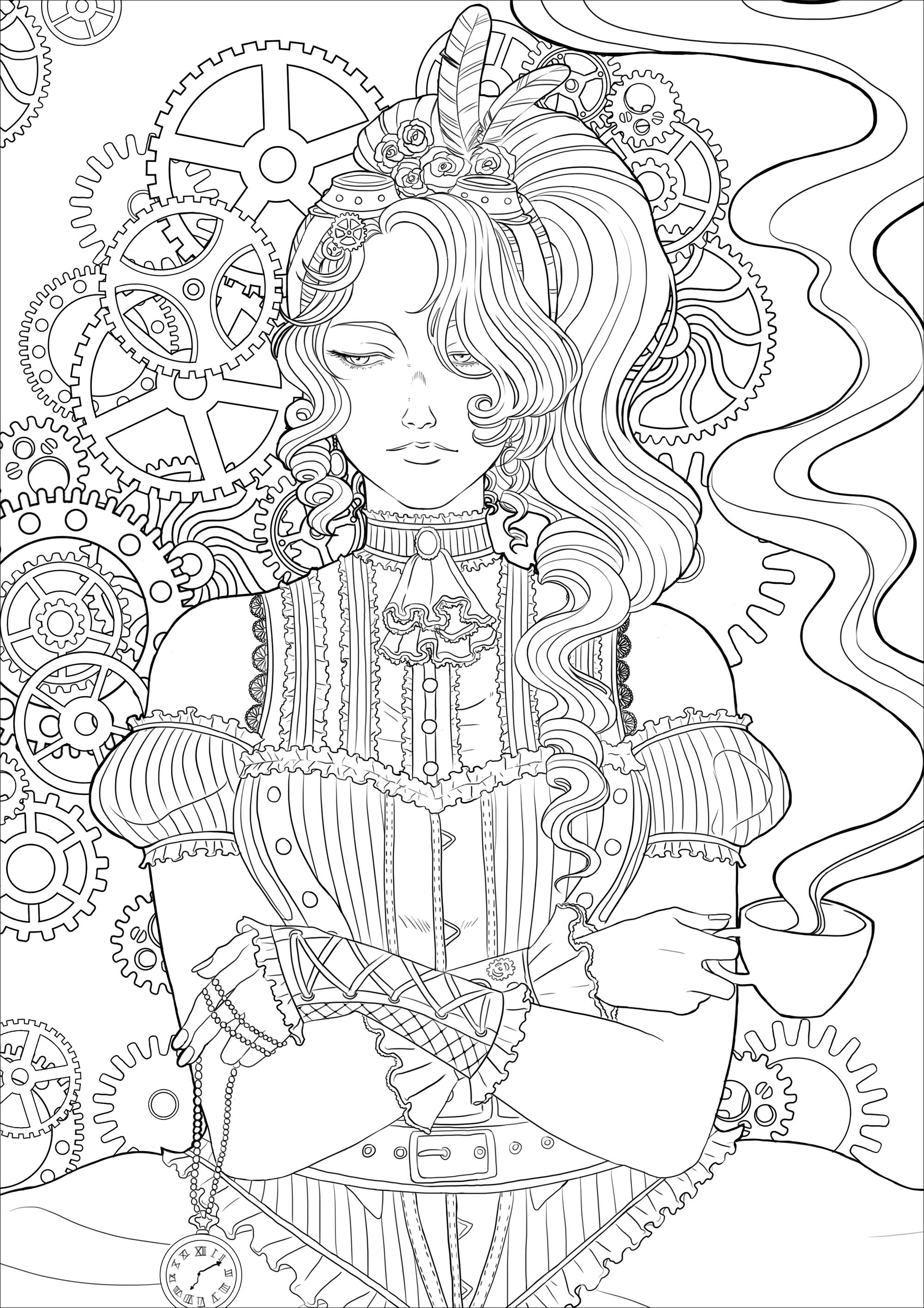 Coloring page of a melancholy young woman with a cup of tea, all in a Victorian environment and mechanisms. Version 2