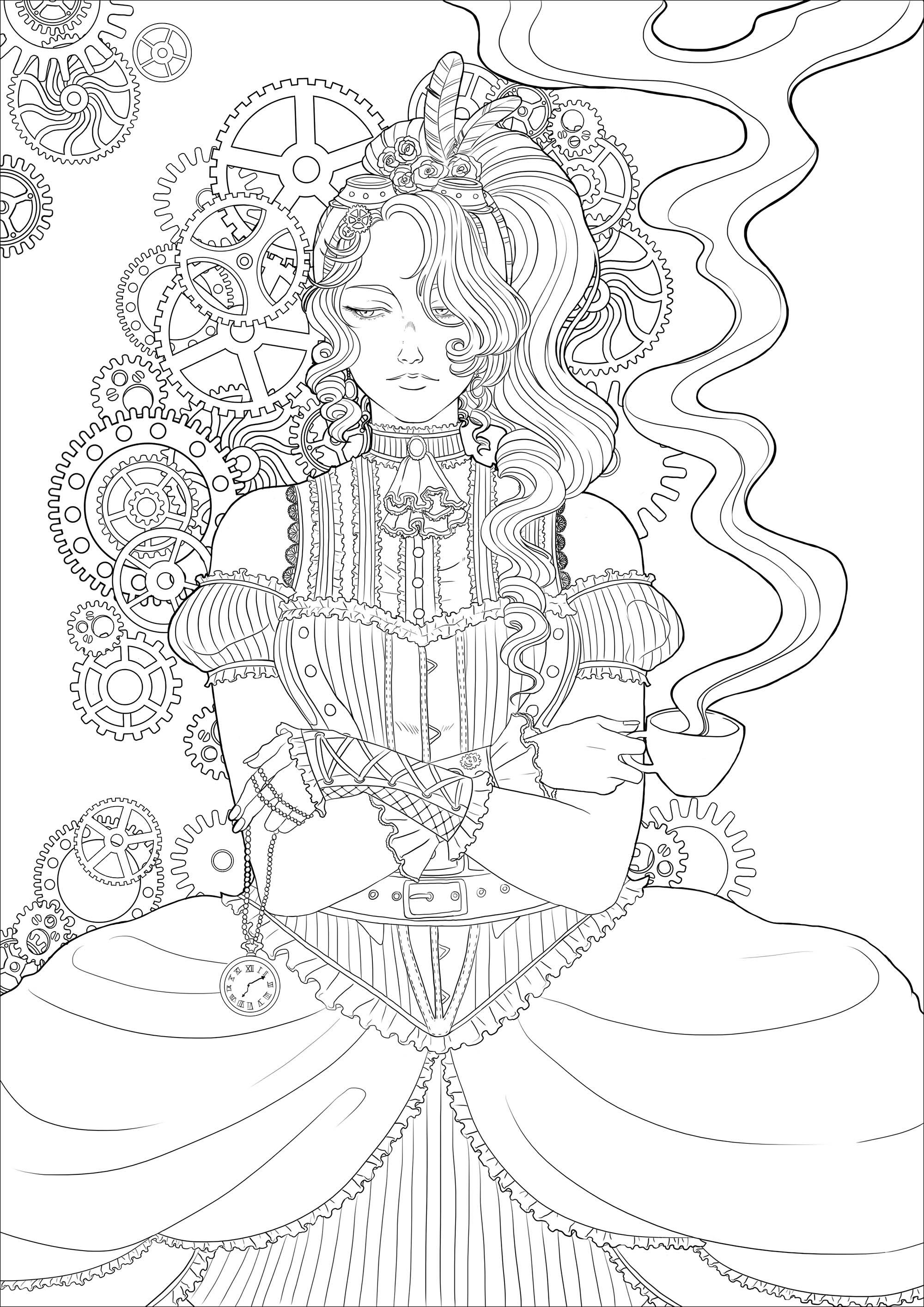 Coloring page of a melancholy young woman with a cup of tea, all in a Victorian environment and mechanisms