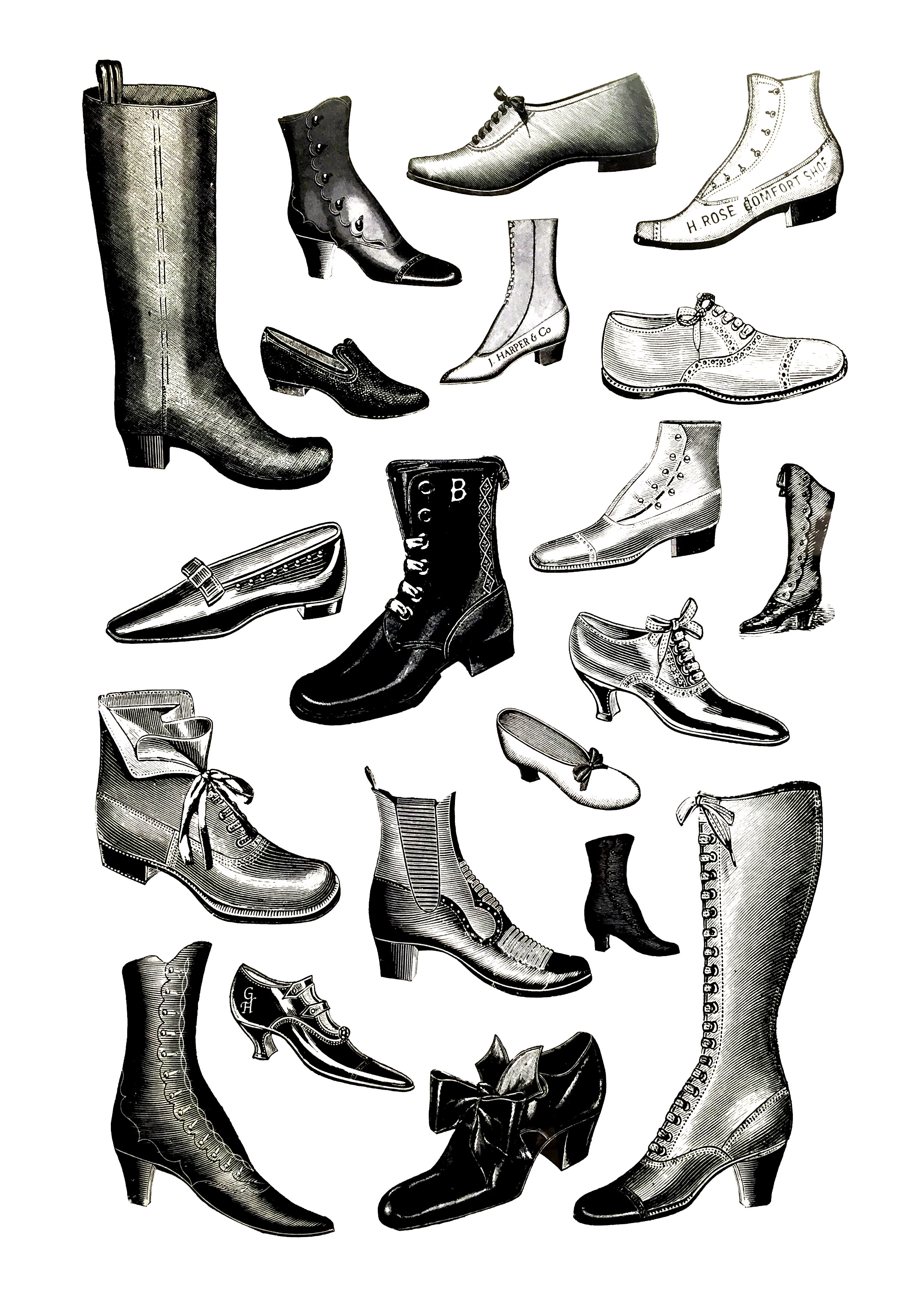 Different kind of shoes during the 19th century