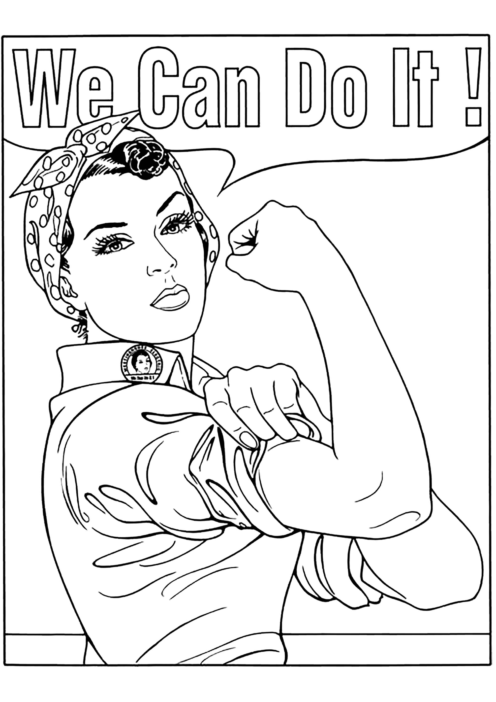 'We Can Do It!' is an American World War II wartime poster produced by J. Howard Miller in 1943. You can now color it