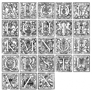 coloring-alphabet-vintage free to print
