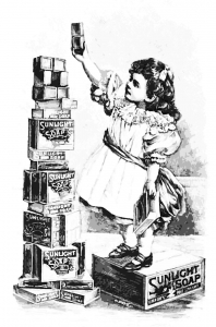 Coloring adult vintage ad soap girl