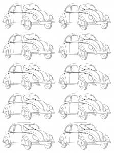 coloring adult volkswagen type 1 beetle mosaic - Vintage Coloring Pages